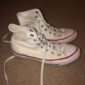 Women's White High Top Converse